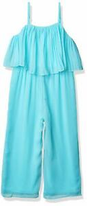 Amy Byer Girl's Jumpsuit Turquoise Blue Size 16 Pleated-Popover  $44 #254