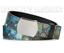 GUCCI blue 44-110 GG BLOOMS Supreme palladium Trademark buckle belt NWT Authentc