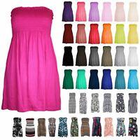 New Ladies Strapless Plain Printed Sheering Boobtube Bandeau Mini Flared Dress