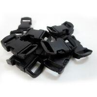24 Black Paracord Bracelet Buckle 1/2 Plastic Curved Side Release Snap Survival
