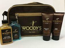 WOODY´S For Men Holiday Travel Kit Reise Set Shampoo Gel Rasur Shave + Tasche