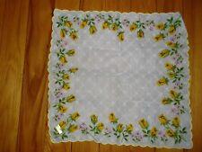 Vtg Yellow Rosebud scalloped border roses handkerchief cotton floral print