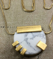 "Vtg Round Stone Pendant on Gold Tone Chain 36"" Slider Necklace 1980s [MC25]"