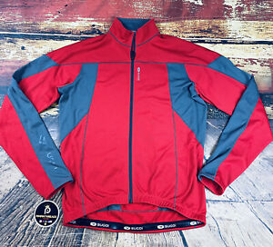 Mens SUGOI Roubaix Thermal Full Zip Cycling Jersey Red Gray Long Sleeve Road MTB