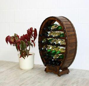 Massivholz Weinregal 24 Flaschen braun NEU Weinfass regal nußbaum Farbe kolonial