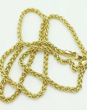 "14k Yellow Gold Hollow Round Wheat Necklace Pendant Chain 18"" 2.8mm"