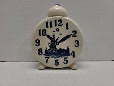 "Antique Ceramic Dutch Vase Clock Shape Holland Windmill White And Blue 5.5"" x 2"""