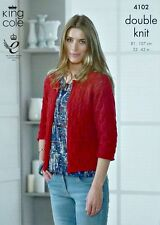 KNITTING PATTERN Ladies 3/4 Sleeve Lacy Cardigan with Pockets DK King Cole 4102