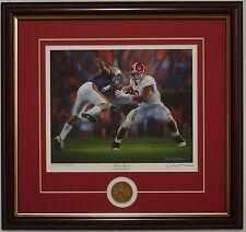 "Alabama 2011 Iron Bowl ""Never Again"" Daniel Moore framed print & coin Richardson"