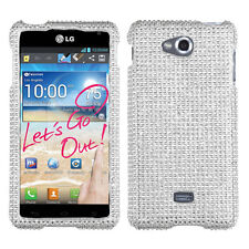 For MetroPCS LG Spirit 4G Crystal Diamond BLING Hard Case Phone Cover Silver