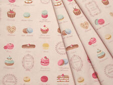 Yuwa Japanese Fabric / Cute Macaron Design Oxford Fabric Pink- 50cm x 110cm