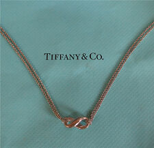 "Tiffany & Co 925 Sterling Silver Infinity Necklace 16"" Double Chain Pouch Box"