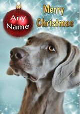 Personalised Weimaraner Christmas Card + illustrated insert & your text inside
