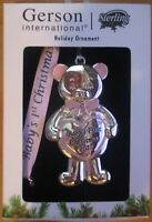 NIB Gerson Holiday bear ornament sterling 2017 Babys first Christmas rhinestones