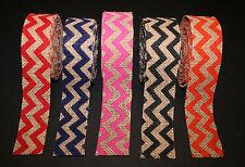 "1-1/2"" Burlap Chevron Ribbon Craft Baby Shower Wedding Gift Bow Wreath - 5 Yds."