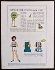 Vintage Betsy McCall Mag. Paper Doll, Betsy McCall & the Baby Robin, May 1964
