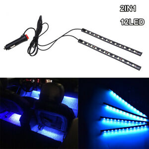 12 LED Blue Car Interior Accessories Floor Decorative Atmosphere Lamp Light 2x