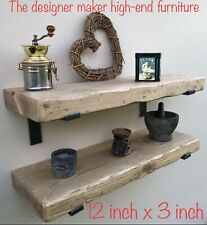 "Large Rustic wooden Floating Shelf dinner plate Tv Sky Box 12"" x 3"" extra deep"