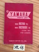 Yamaha RD200 RD200DX 1975 397 catalogue pièces détachées parts list moto