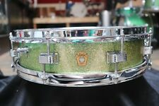 Vintage 1966 Ludwig 4x14 Downbeat Snare Drum Green Sparkle