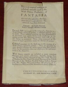 DISNEY FANTASIA PRODUCTION CEL CERTIFICATE OF AUTHENTICITY COURVOSIER GALLERIES