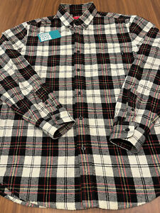 2011 SUPREME FLANNEL PLAID LONG SLEEVE BUTTON-UP SHIRT BLACK WHITE PINK YELLOW M