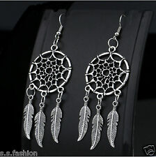 New Design Dream Catcher Vintage Tassel Feather Long Drop Dangler Earrings Girls