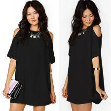 Women Chiffon Baggy T-Shirt Blouse Dress Cold Shoulder Tops Plus Size Sundress