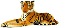 "Large Realistic Bengal Tiger Plush Stuffed Animal 48"" Head to Tail Lifelike"