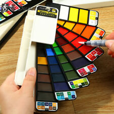 Portable Whirl Solid Watercolor Paint Pigment Set With Water brush Bright Color