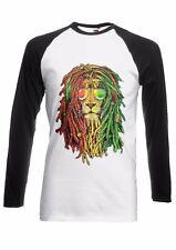 Lion Reggae Music Rasta Men Women Long Short Sleeve Baseball T Shirt 1786E