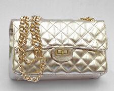 Ital. Handtasche Schultertasche Abendtasche  echt Leder gesteppt Gold Tasche NEU