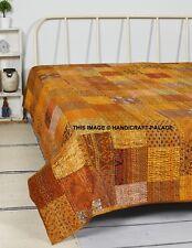 Kantha Quilt Patchwork Silk Indian Bedspread Handmade Blanket King Size Throw