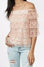 Nwt EXPRESS $60 Tiered Tulle Off The Shoulder Tee Pink Floral Top Blouse Medium