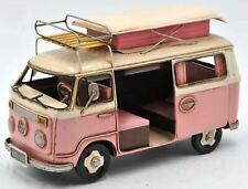 "Bus Model 9 1/2"" Long PINK SURFER MODEL- Tin Model LOVE, PEACE and WOODSTOCK!"