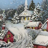 Vintage Mid Century Christmas Greeting Card Hot Pink Houses Snowy Lane Church