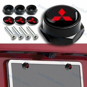 X4 Universal Auto Car License Plate Bolts Frame Screw Caps Covers for Mitsubishi