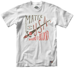 MATIX Bound By Blood Uomo 100% Cotone T-Shirt Grande Bianco Nuovo