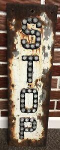 "Vintage 27.5"" Heavy Metal Railroad Industrial Stop Sign W/ Button Reflectors"