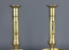 Pair of French Solid Brass Push-Up Candelstick Candle Holder
