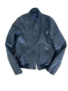 Emporio Armani Mens Black Leather Jacket (Size 46)