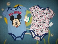 Mickey Mouse Bodysuits 2pc Set Baby Boys 6-9 Mos Future All Star Disney Baby