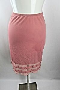 Vtg Gossard Long Waist Half Slip SZ Petite Pinup Lace Rose Pink Classy Sexy