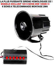 SIRENE HOMOLOGUÉE 12V 6 SONS TELECOMMANDE 120db RAID 4X4 HDJ KDJ PATROL LAND