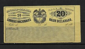 COLOMBIA 1890 INSURED LETTER COVER 20 CENTS SC:G21 (S694)