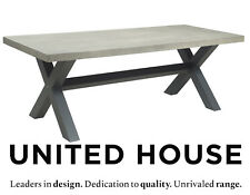 Grey Rustic Industrial Poly Cement Dining Table Steel Modern Outdoor Furniture
