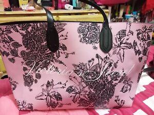 VICTORIA'S SECRET Large Shoulder Tote Bag Pink with Black Floral Print New