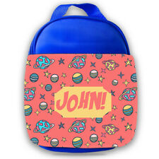 Personalised Kids Lunch Bag Any Name Space Design Childrens Boys School Snack 9