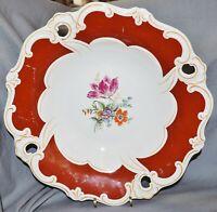 Zierschale Prunkteller Weimar Porzellan,Blankenhain Thüringen,rot,Blumen,31,5 cm