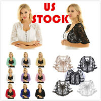 US Women Sheer Chiffon Bolero Shrug Lace Open Front Crop Top Cardigan Prom Party